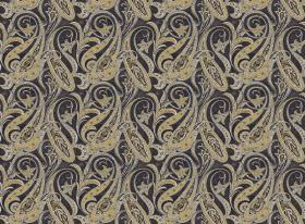 Persia - Black - Green-gold and grey swirls printed repeatedly on a black fabric background