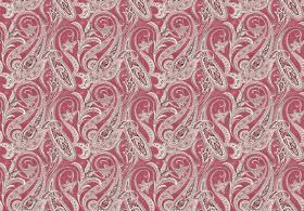 Persia - Red - Dusky red-pink coloured fabric, with a repeated design of patterned swirls in grey and white