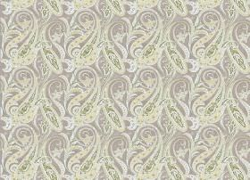 Persia - Natural - Patterned pale yellow and white swirls against a background of light grey fabric