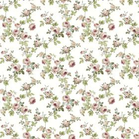 Romance - Blush - A small light purple-grey and green floral pattern printed all over white fabric