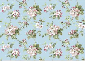 Agatha - Blue - Light pink and white flowers connected by green leaves and vines on fabric in a plain shade of light blue