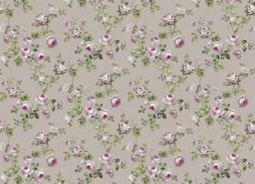 Romance - Pebble - Grey fabric with a floral pattern in purple and leaves in green