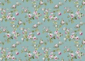 Romance - Turquoise - Pink flowers and green leaves printed on a fabric background in light blue-green