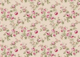 Romance - Cream - Light cream coloured fabric printed with lots of small flowers in pink, as well as green leaves