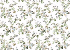 Romance - Natural - Different shades of grey and green making up this white fabric's small floral pattern