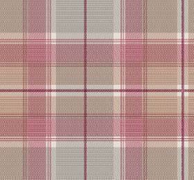 Tartan - Strawberry - Checked fabric in pink-red, grey and caramel colours