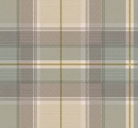 Tartan - Natural - Light blue-grey, cream and grey checked fabric