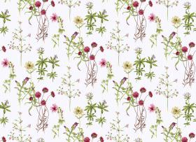 Viola - Chintz - Dark red-pink flowers printed with delicate tree designs and green leaves on a white fabric background