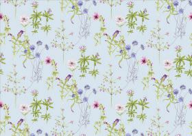 Viola - Sky - Floral print fabric with a mauve, dark pink and green design on a pale blue background