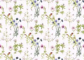 Viola - White - White fabric printed repeatedly with green leaves and simple tree designs, and flowers in blue and pink