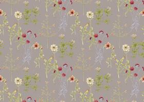 Viola - Grey - Grey fabric as a background for green and grey trees and leaves, with cream, orange and red flowers