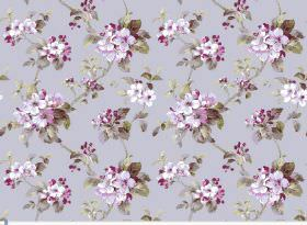 Agatha - Pebble - Bright purple flowers on light purple fabric with dark grey-green leaves