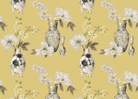 Yoshino - Buttercup - Yellow-gold fabric printed with vases and flowers in shades of cream, white and grey