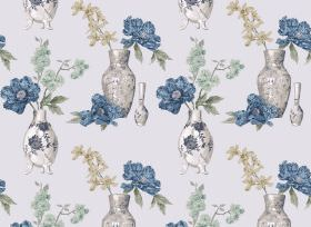 Yoshino - Blue - Urn and flower print fabric in grey, white, blue, beige and duck egg blue, on a background in very pale grey