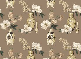 Yoshino - Natural - Cream vases with off-white and beige flowers printed on fabric in a plain brown colour