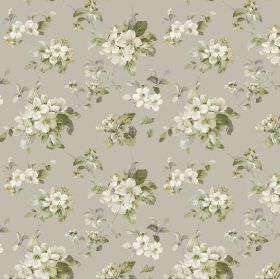 Agatha - Natural - Fabric in light grey, patterned with florals in off-white and leaves in green