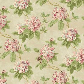 Evie - Peach - Floral print fabric in light pink, light green and cream-beige