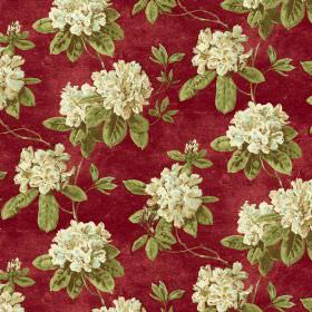 Evie - Ruby - Cream, light green and scarlet coloured fabric with a floral print pattern