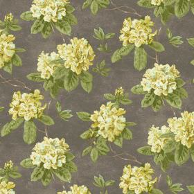 Evie - Daffodil - Bright yellow flowers with green leaves on a background of fabric in dark grey