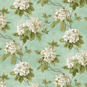 Evie - Duck Egg - Light green-blue fabric with a pattern of green leaves and large white-grey flowers