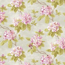 Evie - Pink - Light pink and green making up a large floral print for this light grey coloured fabric
