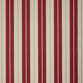 Ella - Red - Vertical burgundy coloured stripes on light cream coloured fabric
