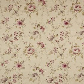 Prudence - Taupe - Beige coloured fabric printed with grey and dusky pink flowers and subtle light green leaves