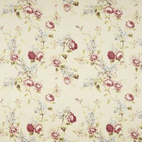 Vivienne - Chintz - Very subtle grey flowers printed next to dark red-pink flowers and green leaves on a fabric background in a stone colour