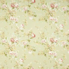 Vivienne - Green - Subtly patterned light green, light pink and white floral print fabric