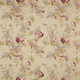 Vivienne - Antique - A floral pattern in grey, dark red, cream-pink and green on a beige fabric background