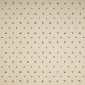Zoe - Beige - Miniscule green florals arranged in rows over a beige-brown coloured fabric background