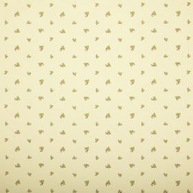 Zoe - Lemon - Rows of very small green florals on fabric in a pale yellow colour