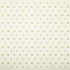 Zoe - Cream - Floral print fabric with miniscule green and yellow designs on an off-white background