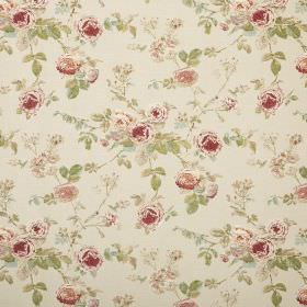 Lucille - Beige - Beige fabric patterned with florals in dusky shades of red, orange and green