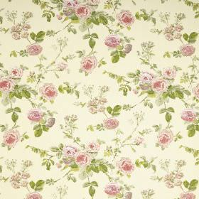Lucille - Lemon - Fabric in a very pale yellow colour, with a floral pattern in light shades of pink and green