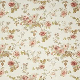 Lucille - Cream - Off-white fabric made with a dusky red and green coloured floral print pattern