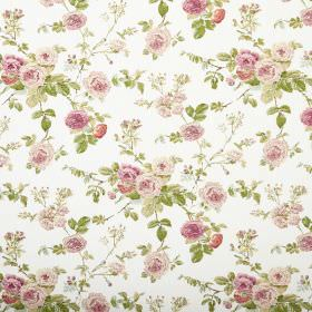 Lucille - Chintz - Pink flowers printed with green leaves as a floral pattern on white fabric