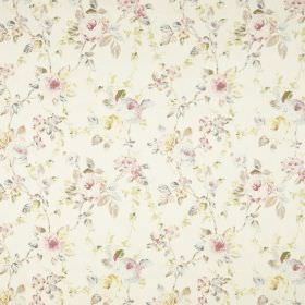 Prudence - Ivory - Pastel coloured flowers and leaves printed very subtly on this fabric
