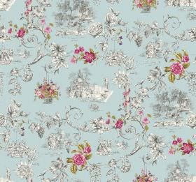 Amy - Water - White and grey swirls, scenes and flowers printed with some bright pink flowers on a pale blue fabric background