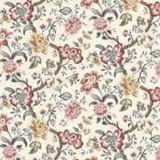 Blyton - Neopolotan - Brown branches, gold, red and white flowers and grey leaves printed on a background of white fabric