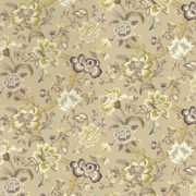 Blyton - Natural - Busily patterned fabric in gold, yellow, beige and shades of grey, with some flowers and branches