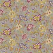 Blyton - Taupe - Fabric with a busy pattern featuring some flowers and branches, in brown, cream, green, grey and shades of purple