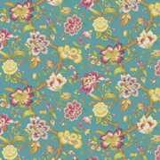 Blyton - Turquoise - Bright turquoise fabric printed with bright green leaves, brown branches and bright purple, pink and gold flowers