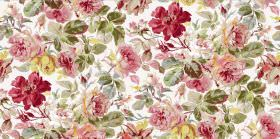 Pandora - Chintz - Reds and pinks making up the floral pattern printed with green leaves on white fabric