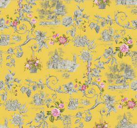 Amy - Lemon - Bright yellow fabric with a design of occasional pink flowers and shaded grey flowers, swirls and scenes