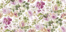 Pandora - Pink White - Fabric made in white with green leaves and large flowers in different shades of light purple