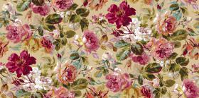 Pandora - Antique - Light gold fabric with a large floral print pattern in dark pink shades, with leaves in a forest green colour