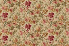 Pandora - Beige - Dusky coloured floral print fabric featuring red, pink, gold, beige and green