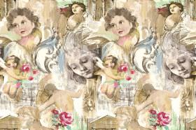 Venus - Pastel - Mainly grey and beige cherubs and faces printed on fabric