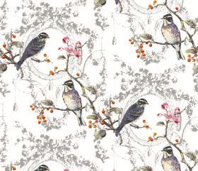 Wonderland - Opal - Bird, branch, berry and flower print fabric in white, orange, pink and several shades of grey